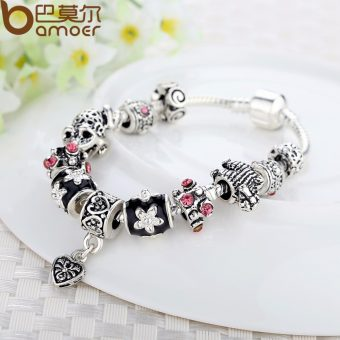 925 Silver Heart Charm Bracelet & Bangle With Glass Beads