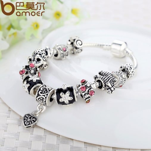 925 Silver Heart Charm Bracelet & Bangle With Glass Beads