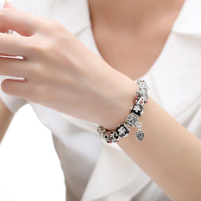 925 Silber Herz Charm Armband & Armreif mit Glasperlen
