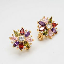 24K Gold Plated Colourful Cubic Zircon Hoop Earrings
