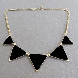 Black geometrical Triangle Necklace