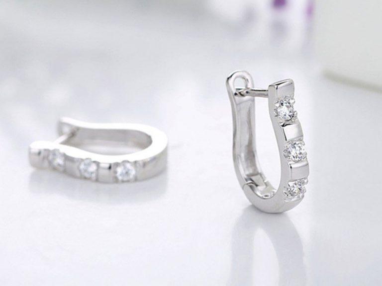 White Crystal Silver Hoop Earrings
