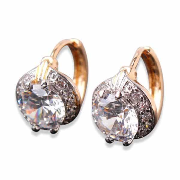 White Zircon Earring 18k Gold Platinum Plated