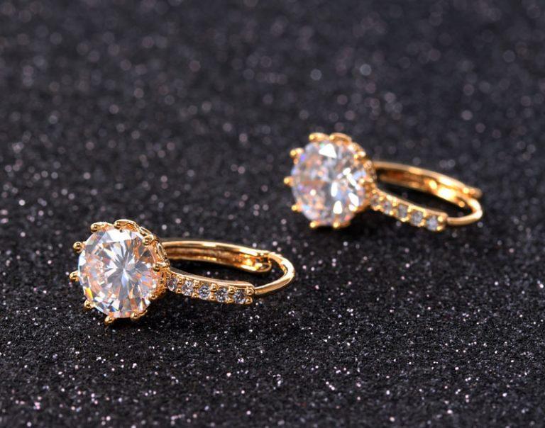 18K White Gold Filled Cubic Zircon Hoop Earrings