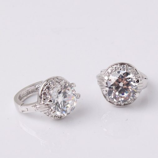 White Zircon Earring 18k Gold Platinum Plated