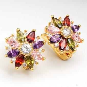 24K Gold Plated Colourful Cubic Zircon Hoop Earrings