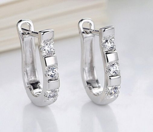 White Crystal Silver Hoop Earrings