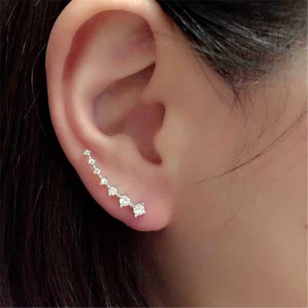Golden Rhinestone Crystal Piercing Earrings