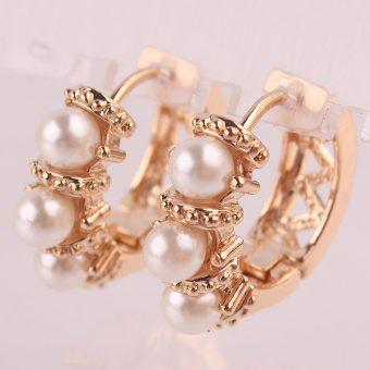 White Crystal / Pearl Hoop Earrings