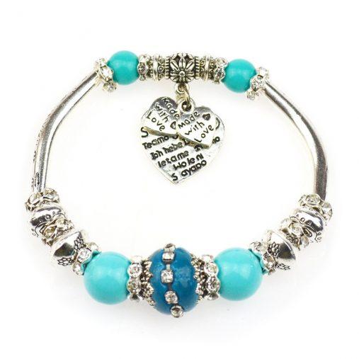 Silver plated love heart charm bracelet