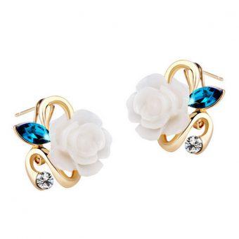 18K Gold Plated Rose Flower Earring