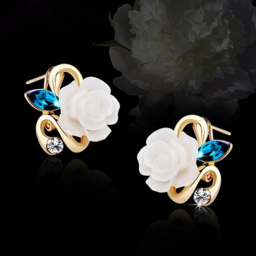 18K Gold Plated Rose Flower Earring