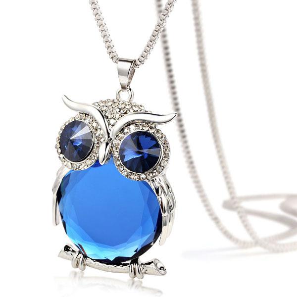 Owl Necklace Rhinestone Crystal Pendant Ace Gems