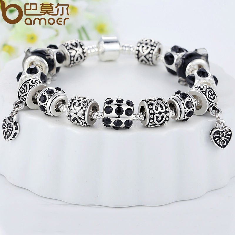 fine product women crystal bracelet ace charm plated original bracelets silver gems fashion bead for jewelry gift