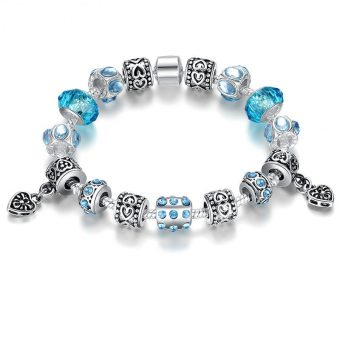 925 Silver Crystal Charm Bracelet With Blue Murano Glass