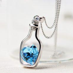 Love Drift Blue Heart Crystal Pendant