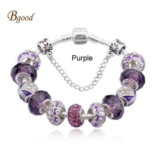 Silver Field of Daisies Murano Glass  Bracelet