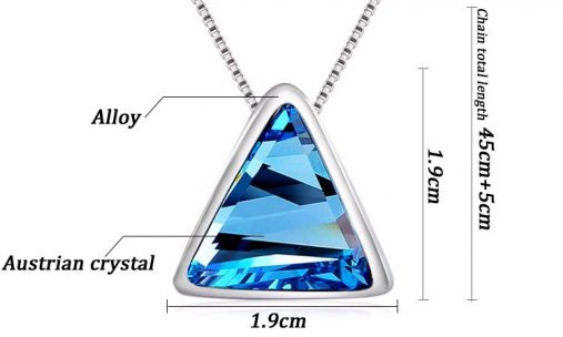 Triangle Silver Pleated Necklace Earrings Jewelry Set
