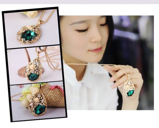 Popcorn Chain Austrian Crystal Jewelry Pendant