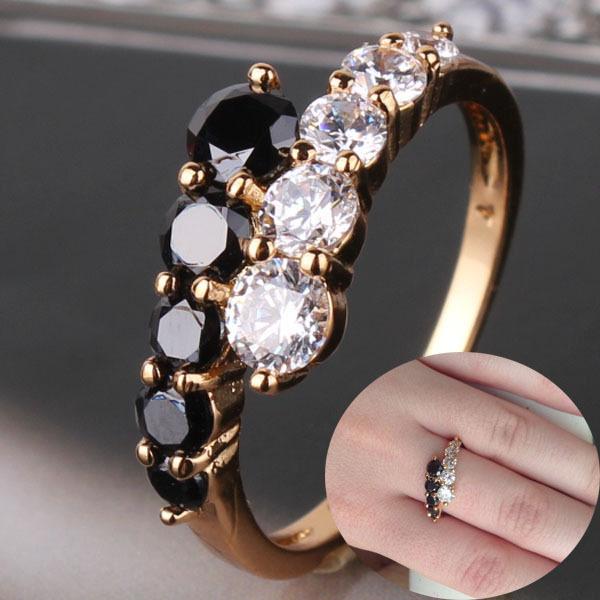 White & Black Engagement Wedding Rings