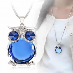 Crystal Owl Necklace/Pendant with Rhinestones