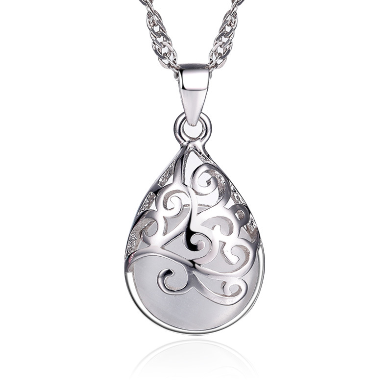 Silver plated trevi fountain moonlight necklace ace gems mozeypictures Images