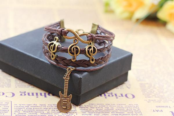 Music note guitar bracelet
