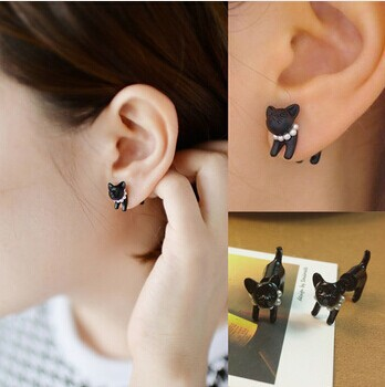 Cat Impalement Pearl Stud Earrings