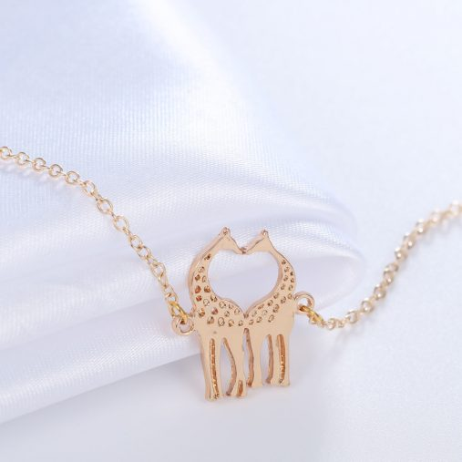 Gold Silver Plated Loving Heart Giraffes Bracelets