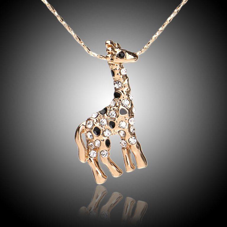 white crystal giraffe necklace