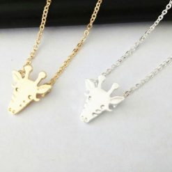 Gold Silver Cute Giraffe Face Necklace