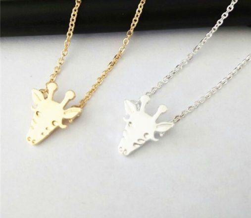 Gold Silver Cute Giraffe Face Necklace