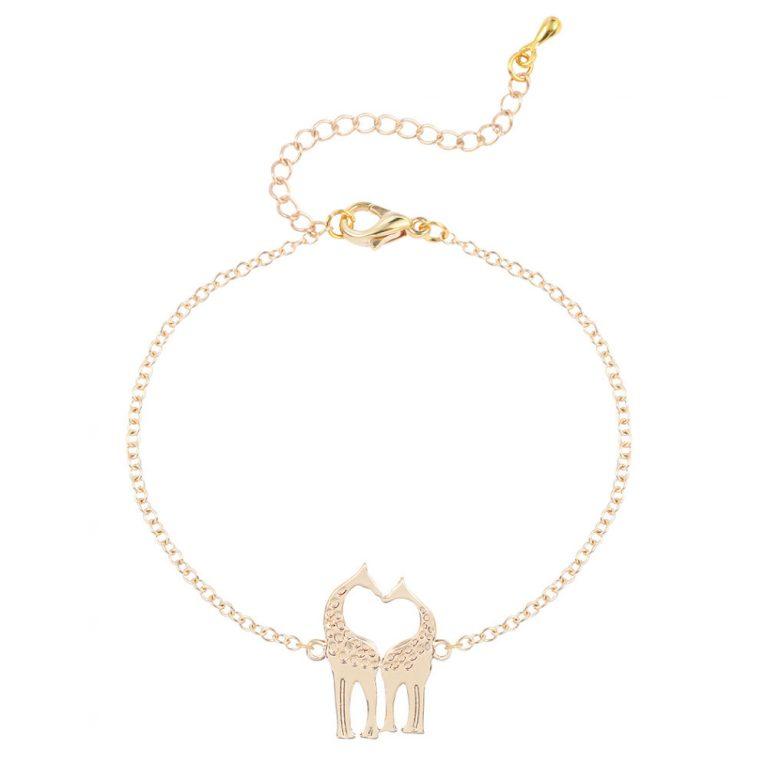 Gold Silver Plated Loving Heart Giraffes Bracelets