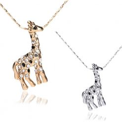 white crystal giraffe necklace