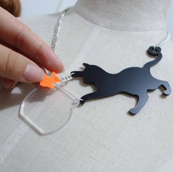 Cat Catch Fish Necklace