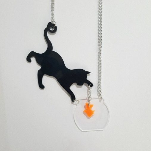 Cat Catch Fish Necklace