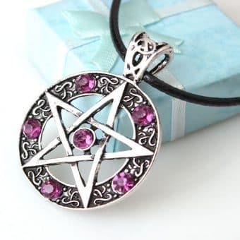 Pentagramm Anhänger mit Kristallen