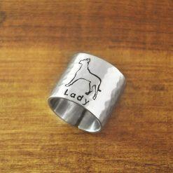 Custon Name Great Dane Engraved Ring