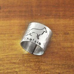 Custon Name German shepherd Engraved Ring