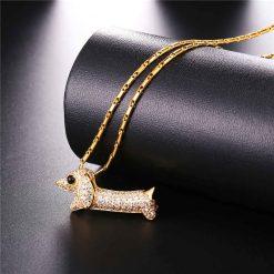 Cubic Zirconia Sausage Dog Necklace