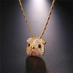 Cubic Zirconia Pug Necklace