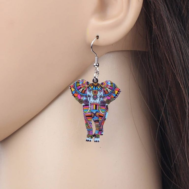 Colorful Elephant Earrings – Pair