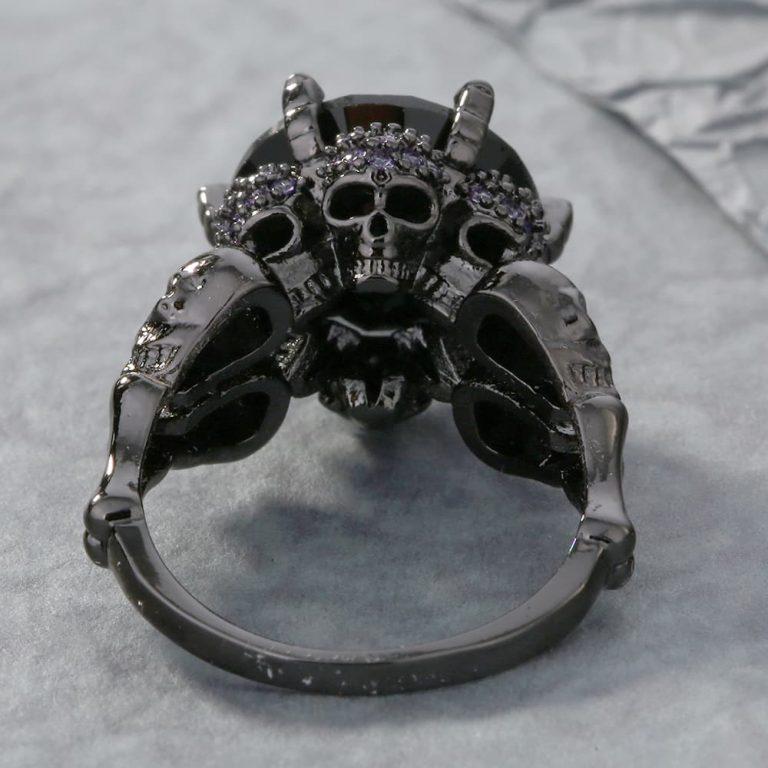 Black Zircon Skulls Ring