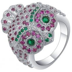 Pink & Green Owl ring