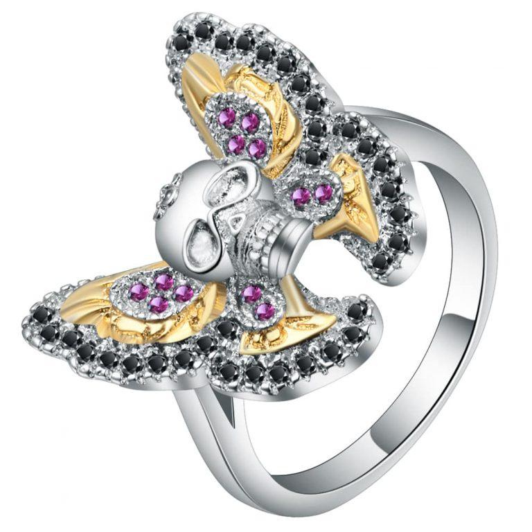 Ace Gems Butterfly Skull Ring jewel