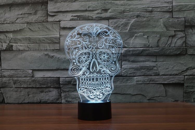 Sugar Skull 3D Illusion Led Lamp