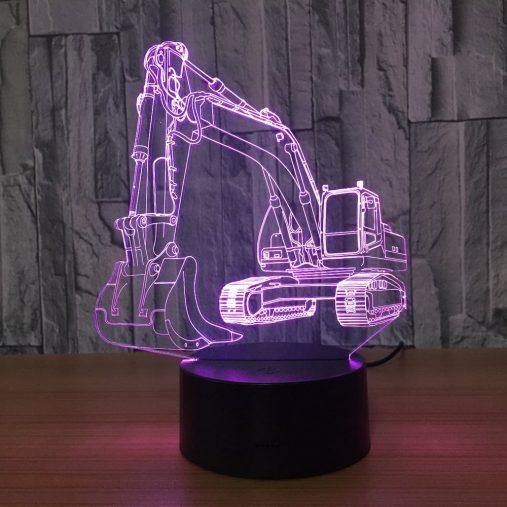 Excavator 3D Illusion Led Lamp