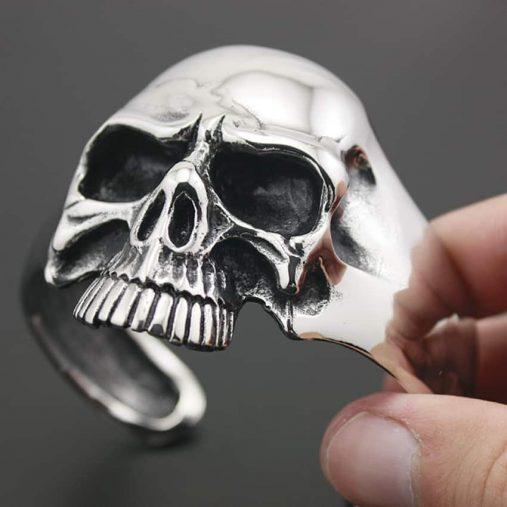 Stainless steel skull punk bracelet