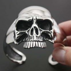 316L Stainless Steel Huge Heavy Skull Mens Biker Rocker Punk Bracelet Bangle Cuff