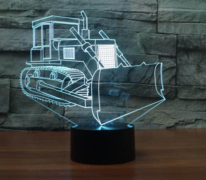 Crawler Bulldozer 3D Illusion Lamp